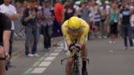 Close up of Bradley Wiggins riding to the starting block of stage 19 of 2012 Tour de France