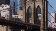Close up of Brooklyn Bridge arch. Suspension cables criss cross the frame, pedestrians and cars move along bridge.