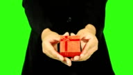 Close Up Of Business Woman Giving A Gift