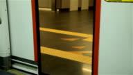 close up of door in train
