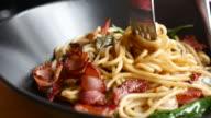 Close up of Eating spaghetti pasta