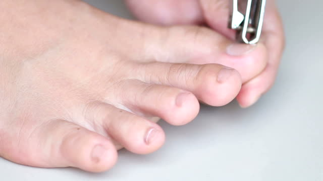 Close up of foot during a cleaning, pedicure