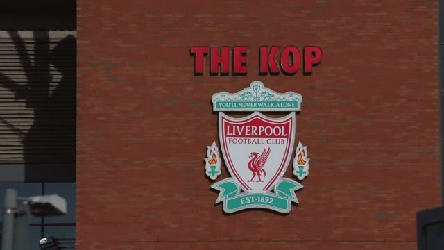 Close up of Liverpool FC club crest at Anfield Stadium Liverpool v Swansea on February 17 2013 in Liverpool England
