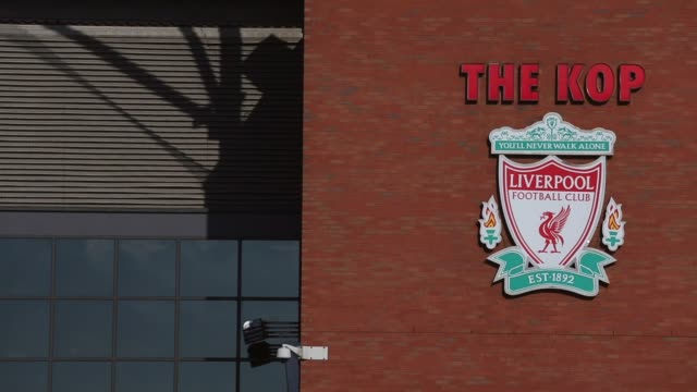 Close up of Liverpool FC crest at Anfield Stadium entrance Liverpool v Swansea on February 17 2013 in Liverpool England