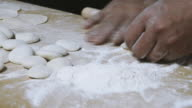 Close Up of Making Dumplings