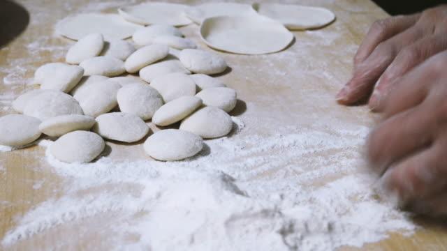 Close Up of Making Dumplings