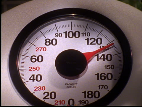 close up of needle moving on bathroom scale