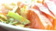 Close up of salmon sashimi