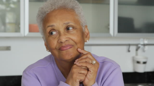 Close up of senior African American woman being confident