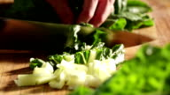 Close up of Spinach being Cut