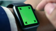 Close up of Using smart watch with Chroma key