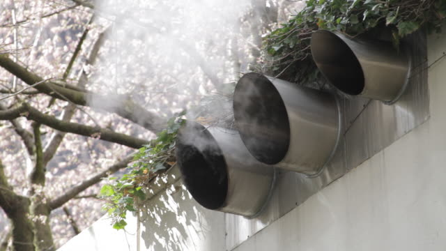 Close up of vents letting out steam, tree in full blossom in background