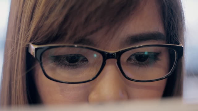 Close Up Of Woman With eyeglasses