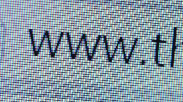 Close up of www address bar cursor blinking