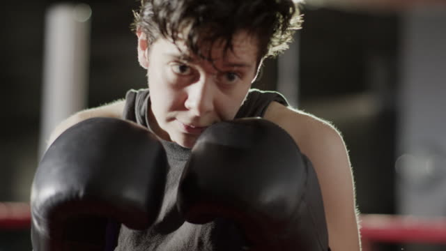 Close up over the shoulder shot of female boxers sparring / Lehi, Utah, United States