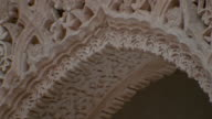 Close up pan detail on pavilion arch at Court of Lions/ Alhambra, Spain