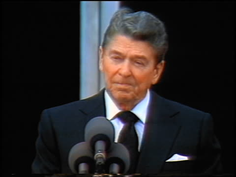 1986 close up President Ronald Reagan giving eulogy during memorial service for Challenger astronauts