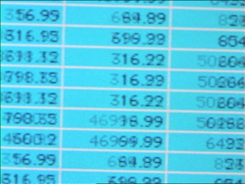 close up PAN quickly scrolling columns of numbers on computer screen