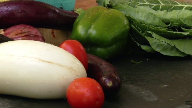 Close up rinsed fresh produce