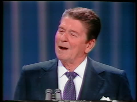 1984 close up Ronald Reagan giving speech at Republican National Convention / Dallas