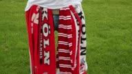 Close Up Scarves of a fan of 1 FC Koeln are seen in front of of the RheinEnergiestadion prior to the Second Bundesliga match between 1 FC Koeln and 1...
