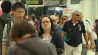 Close Up Shot People Walking Hong Kong Kwangtung China