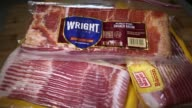 Close up shots of packaged bacon produced by Oscar Mayer and Wright Brand shot in Washington DC