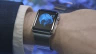 Close up shots of the Apple Watch arranged for a photo shoot in New York NY US on April 2 2015 Shots Close ups of the Apple Watch displayed on a...