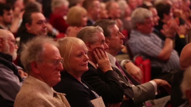 Close up shots of the crowd at the UK Independence Party Spring conference at the Winter Gardens in Margate UK Close up shots of UKIP pins on the...