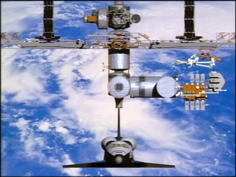 COMPUTER ANIMATED close up space shuttle docking with International Space Station over Earth