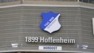Close Up the logo of TSG 1899 Hoffenheim is seen in front of the Wirsol RheinNeckar Arena prior to the Bundesliga match between TSG 1899 Hoffenheim...