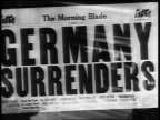 B/W 1919 close up The Morning Blade newspaper headline Germany Surrenders