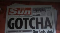 Close Up 'The Sun' front page from May 4 covering the Falklands War Empty News Of The World offices in Wapping London on August 12 2013