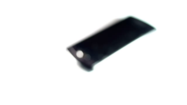 Close up to broken phone screen.
