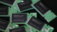 Close up Toshiba Corp memory chips are seen on memory modules in an arranged video in Tokyo Japan on Thursday Aug 17 Close up pan left to right...
