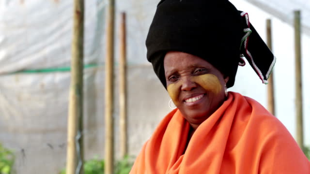 Close up Video Portrait Traditional African Xhosa Woman