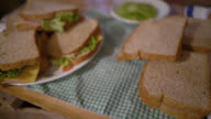 Close up view of sandwiches on a table