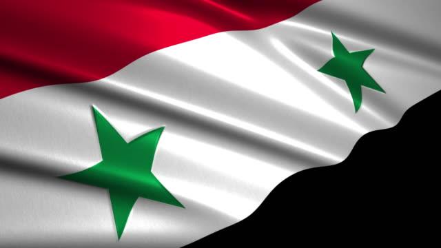 close up waving flag of Syria,loopable