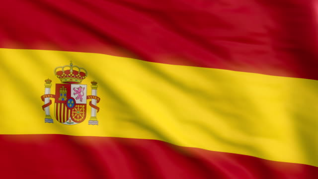 Close Up Waving National Flag of Spain 4k animation