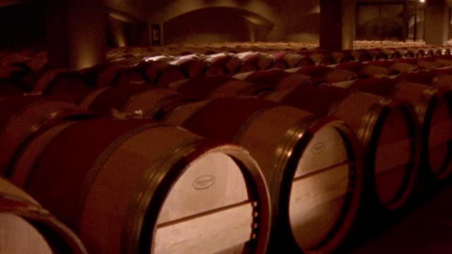Close up wine casks/ tilt up large number of casks lined up in cellar at Robert Mondavi Winery/ Napa Valley, California