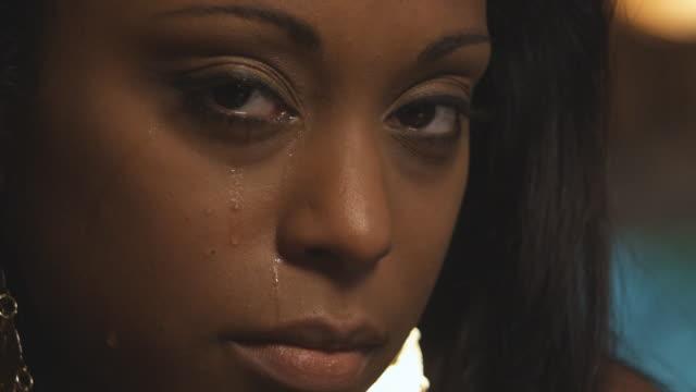 Close up woman crying