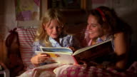 Close up woman reading book to young blonde girl in bed