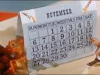 1951 Close up woman writing down Thanksgiving plans next to November calendar / AUDIO