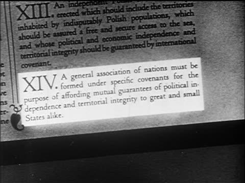 B/W 1919 close up Woodrow Wilson's 'Fourteen Points' document / documentary