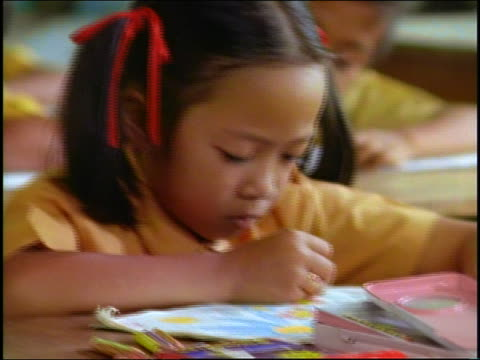 close up young schoolgirl coloring at desk in classroom / Bali