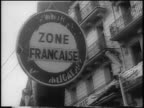 B/W 1960 close up 'Zone Francaise' sign / Algeria / newsreel