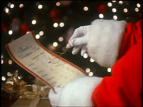 close up zoom in Santa Claus' gloved hand holding eyeglasses going over Christmas list