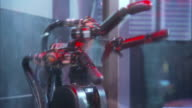 Close Up_pan-right tilt-down zoom-in - A robotic hand snatches a ball in mid-flight.