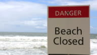 Closed Beach Sign On A Dangerous Beach, Australia