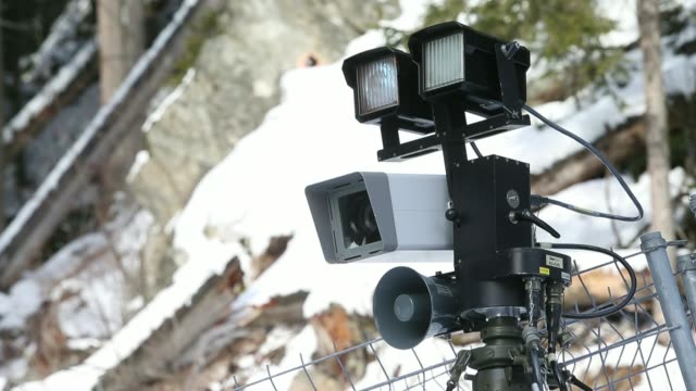 Closed Circuit Television cameras sit near to the Kongress Zentrum or Congress Center the venue for the World Economic Forum in Davos Switzerland on...